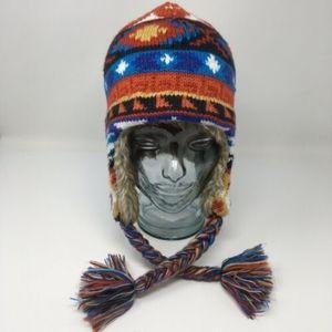 Nordic Faux Fur Trim Knit Hat Ski Cap OSFM